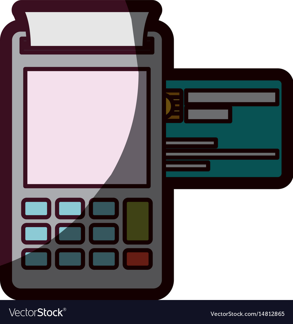 Color silhouette with payment terminal and credit vector image