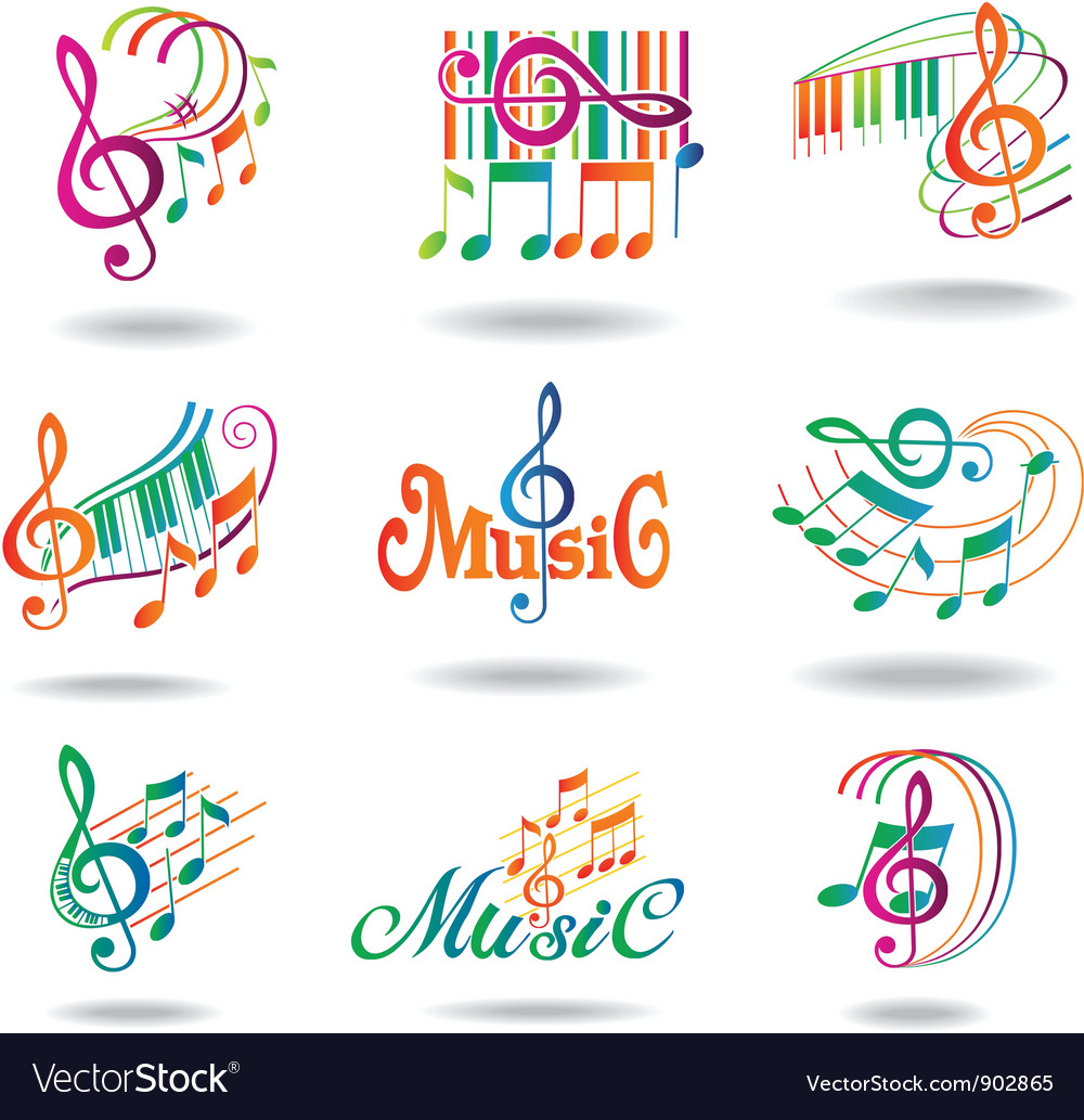 Colorful music notes set of music design elements