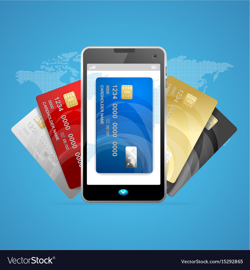Concept of phone pay with credit plastic card