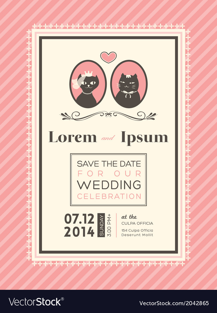 Cute wedding invitation design frame template