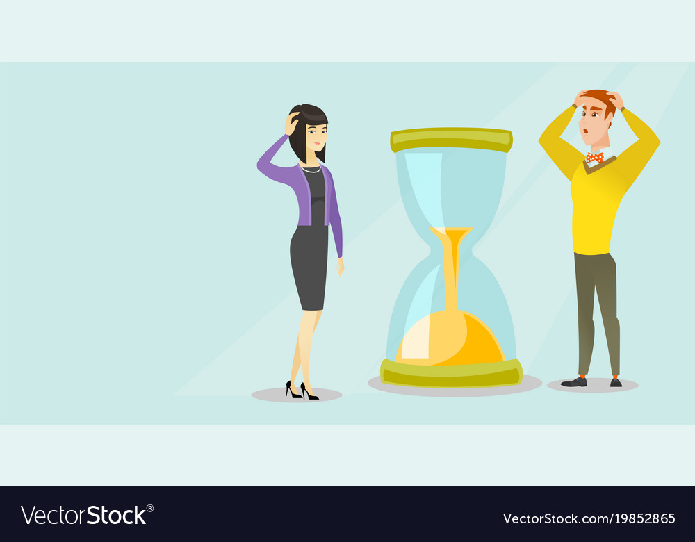 Desperate Business People Looking At Hourglass Vector Image Cd, album, reissue, remastered country: vectorstock
