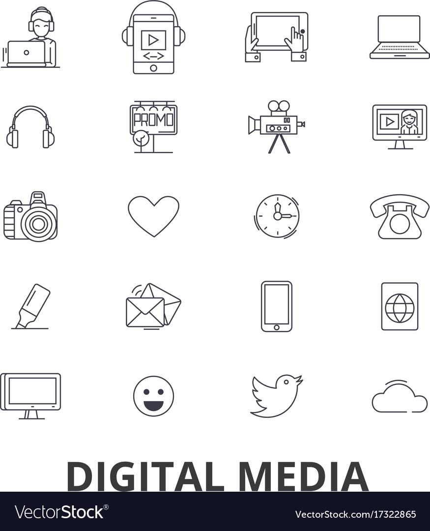 Digital media marketing social life technology vector image