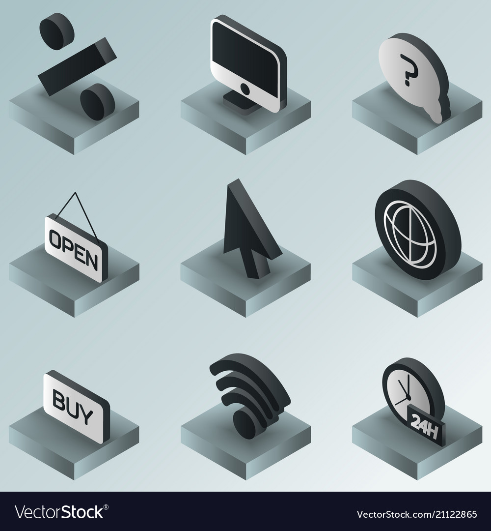E-commerce color gradient isometric icons
