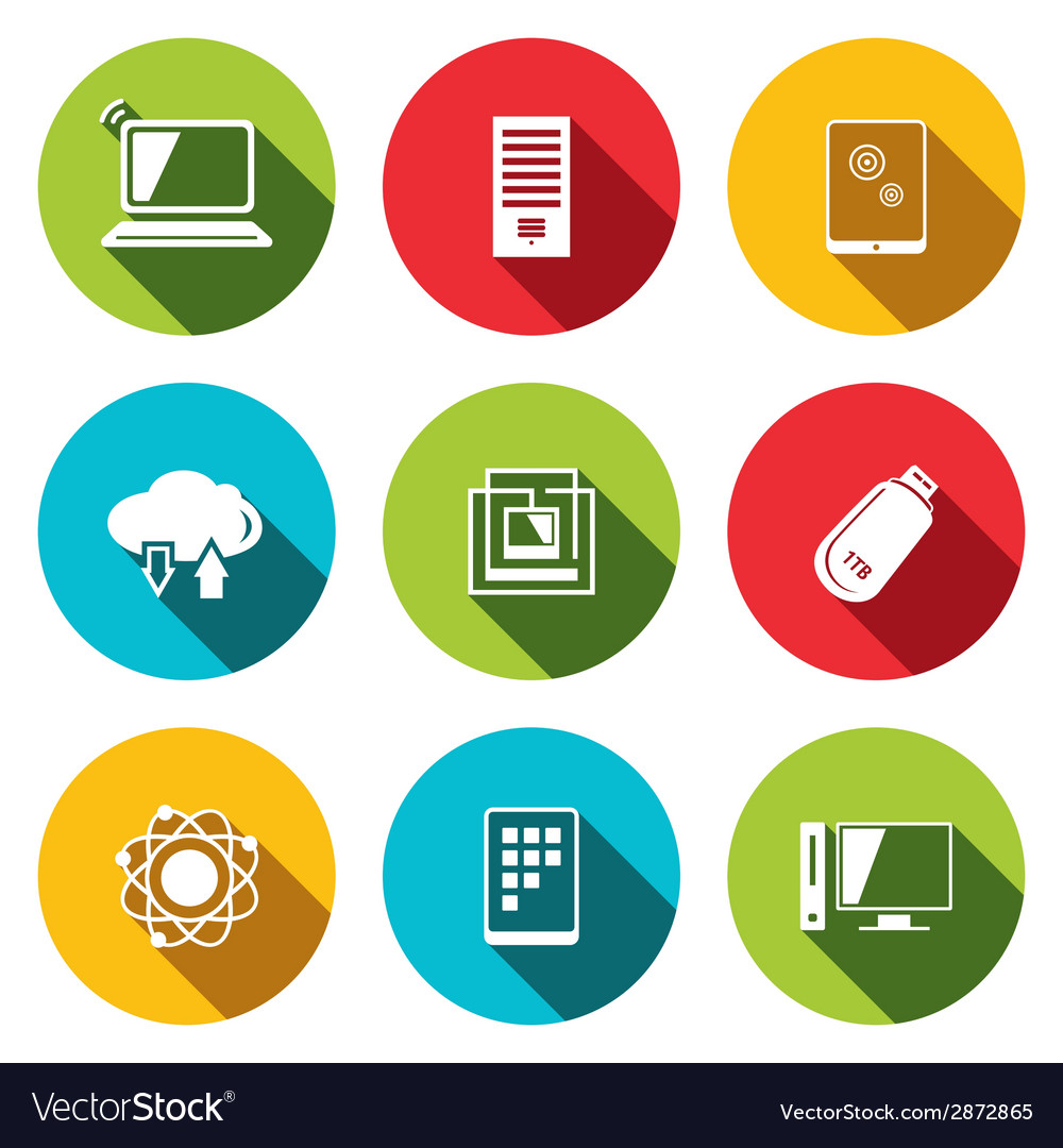 Exchange information technology flat icons set Vector Image