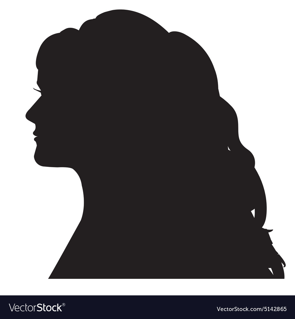 Female silhouette head with a curl long hair