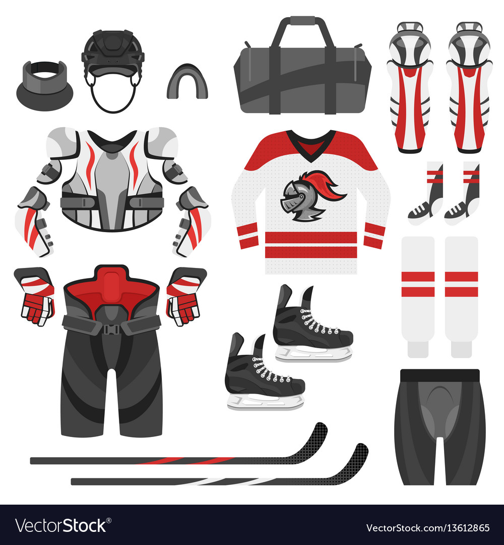 Flat style set of hockey equipment vector image
