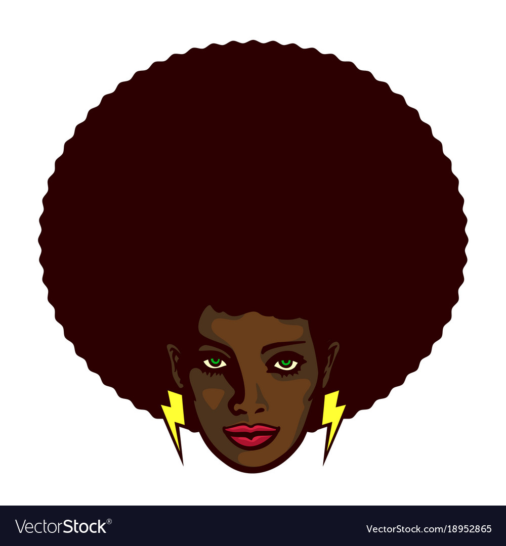 Funky black woman face with afro hairstyle vector image