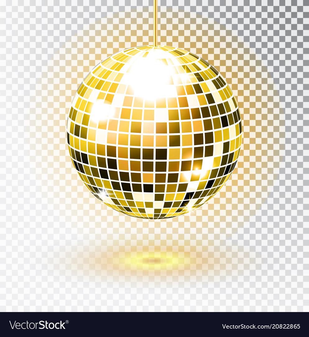 Golden disco ball isolated