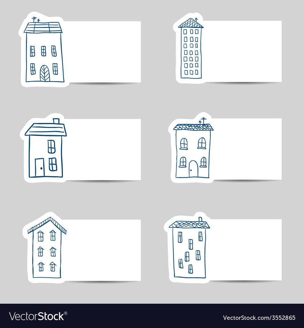 Houses doodles on small cards