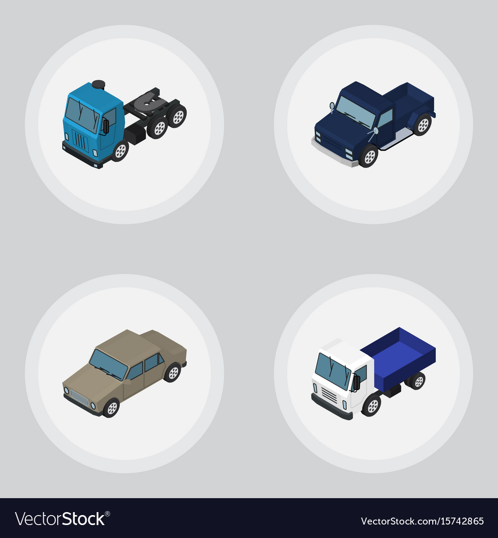 Isometric car set of lorry auto truck and other