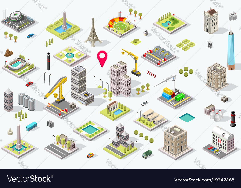 Isometric city icon set