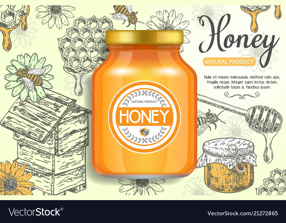 Natural honey ads poster template Royalty Free Vector Image