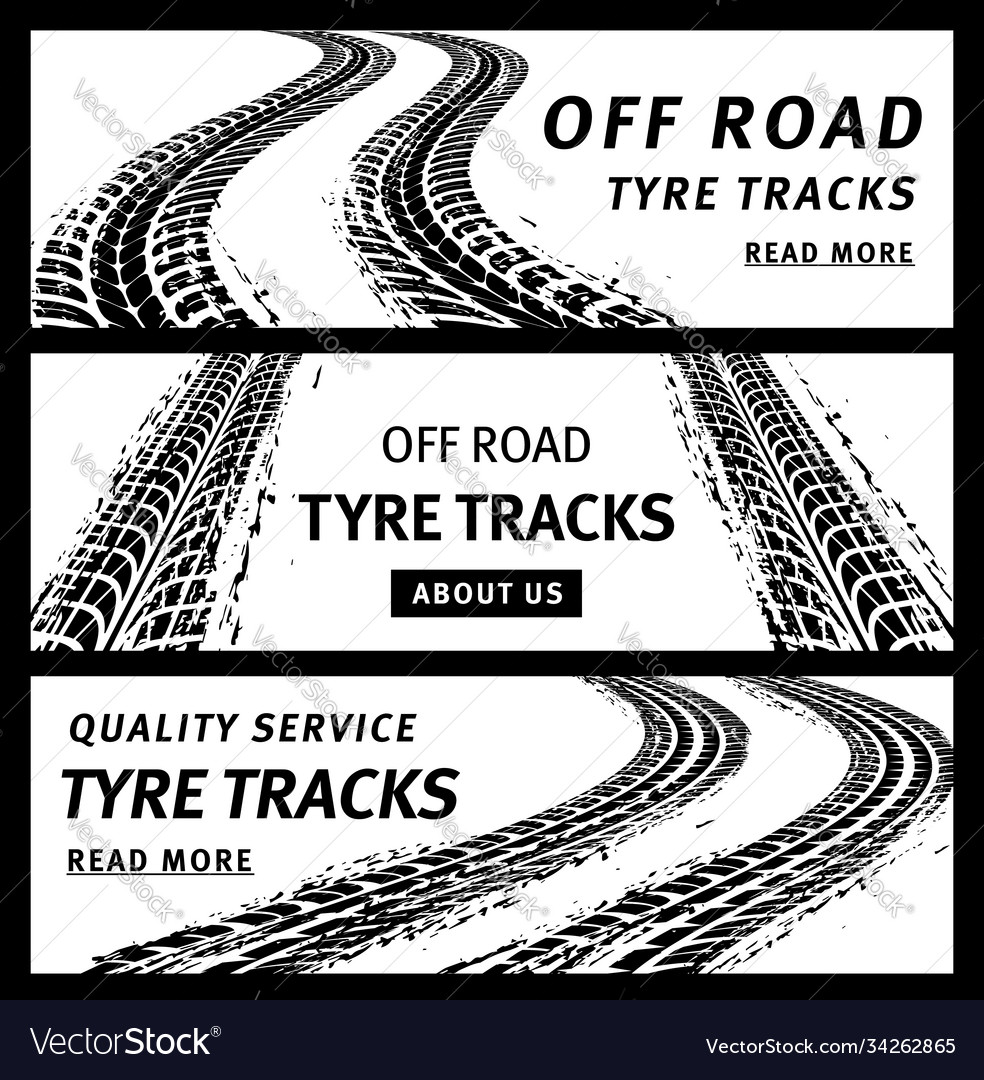 Off road tire tracks black car tyre prints banners
