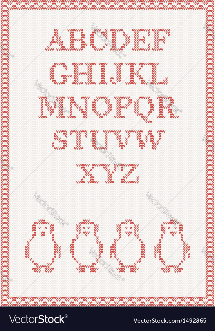Red Knitted Alphabet With Penguin Royalty Free Vector Image