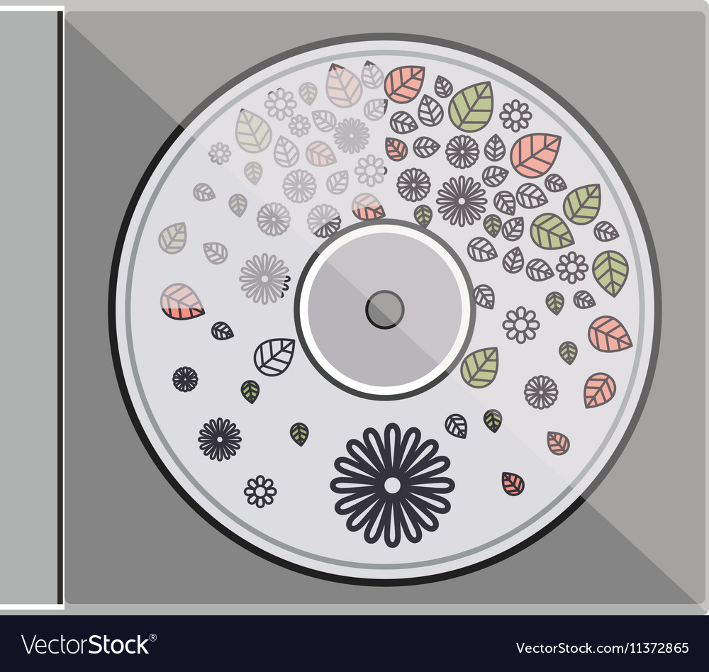 Silhouette compact disc with background flowers vector image