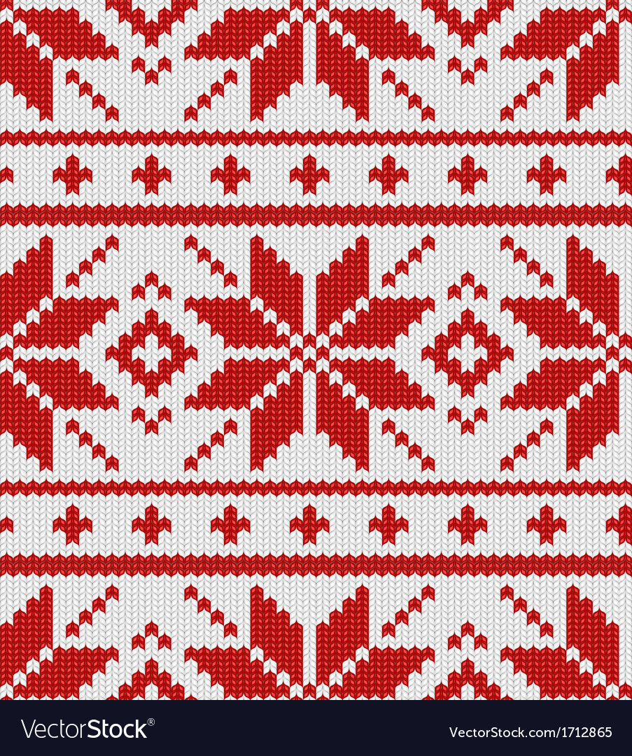 Skandinavian red knitted pattern vector image