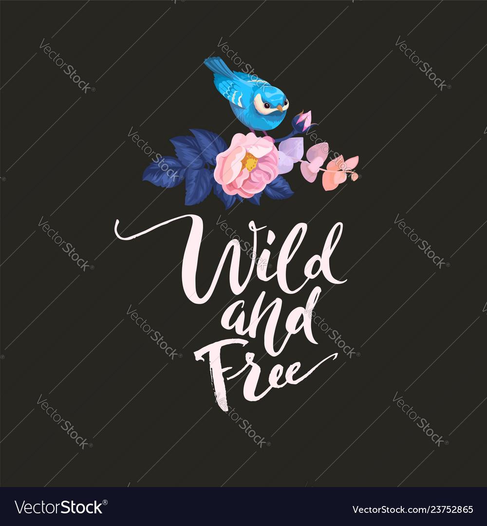 Spring bird on flower branch watercolor poster