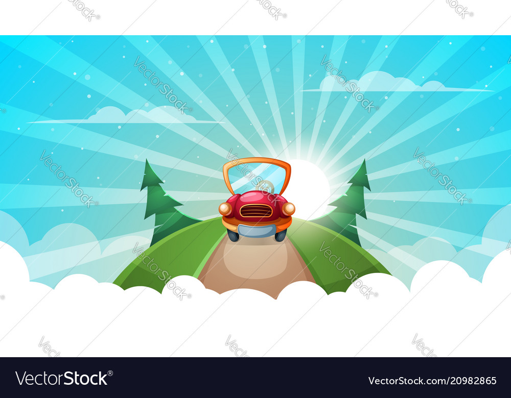 Summer cartoon landscape car road vector image