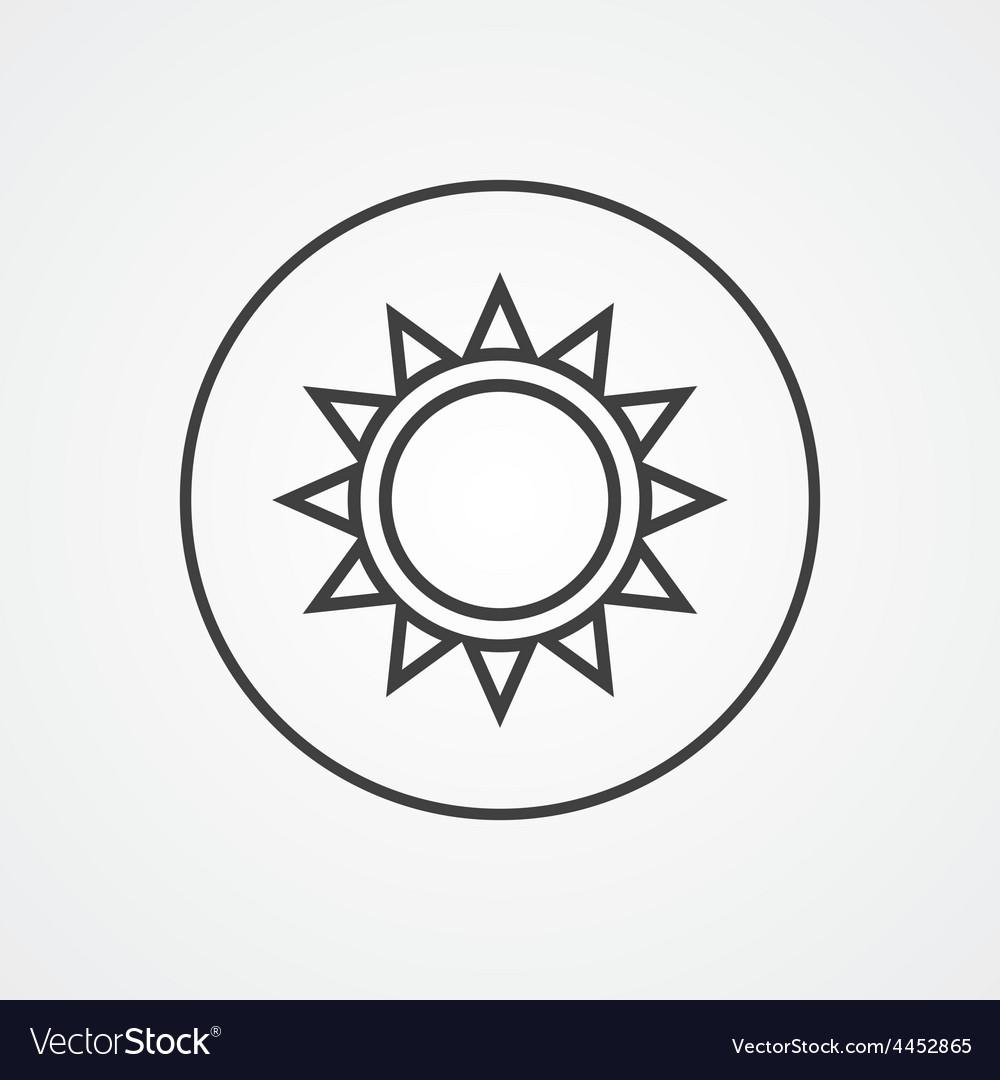 Sun outline symbol dark on white background logo vector image