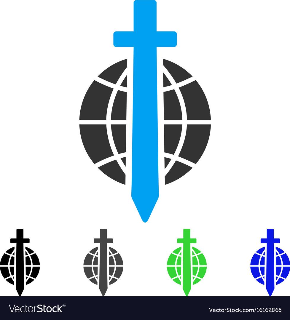 Sword globe flat icon vector image