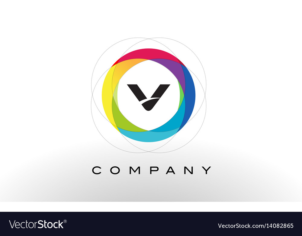 V letter logo with rainbow circle design