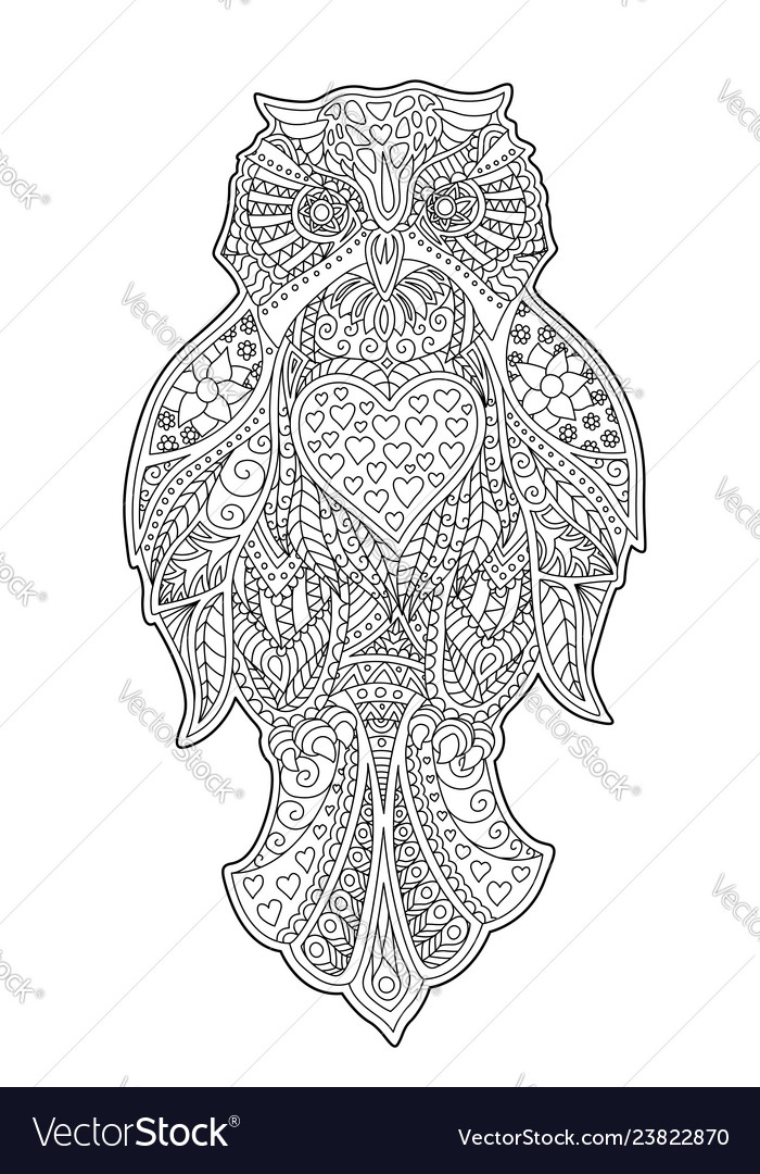 Adult coloring book page with decorative owl