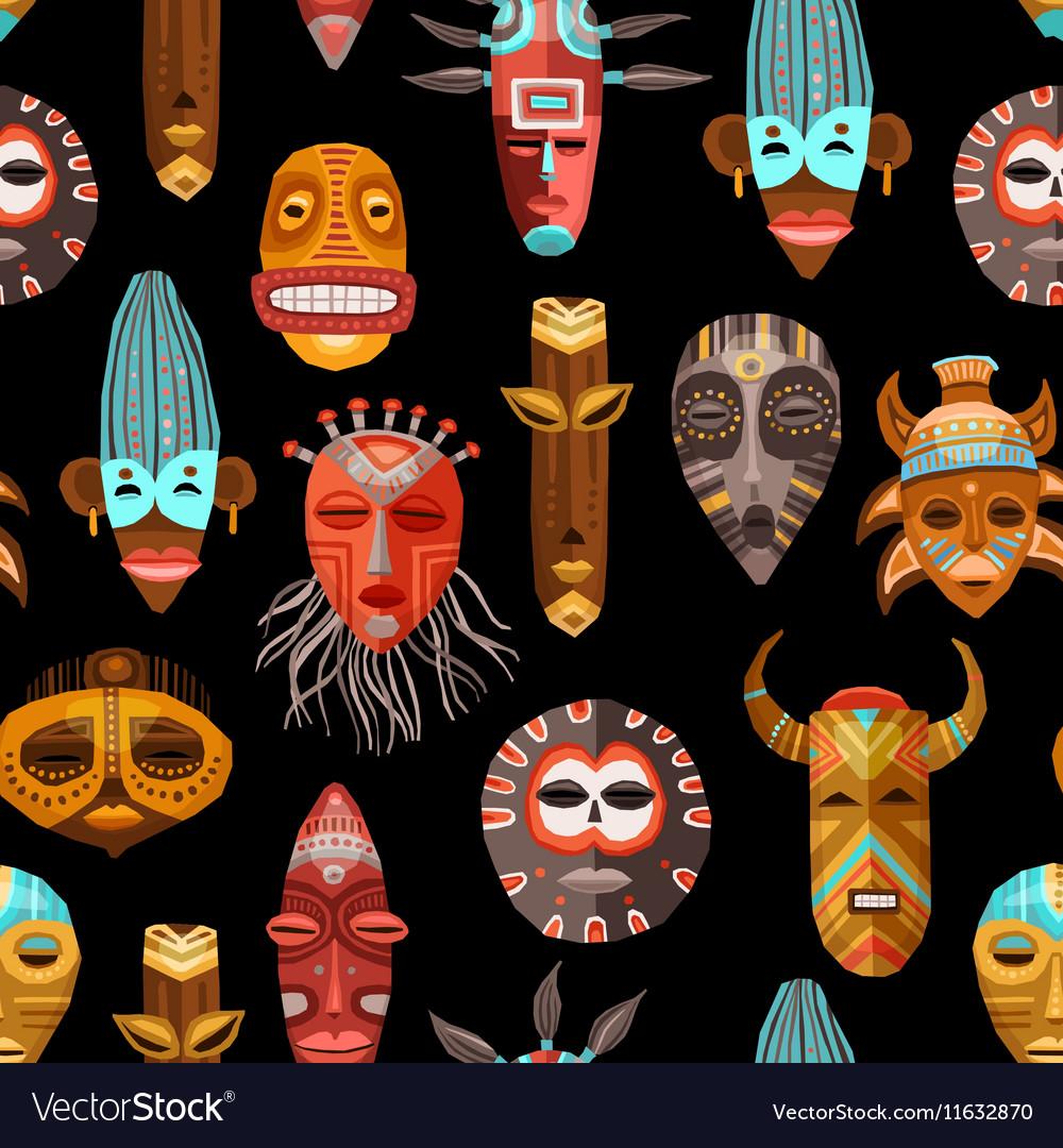 African ethnic tribal masks seamless pattern