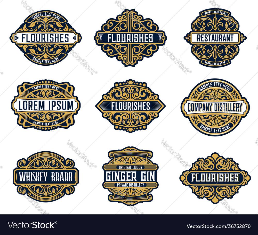 Alcohol drinks brand beverage retro labels set