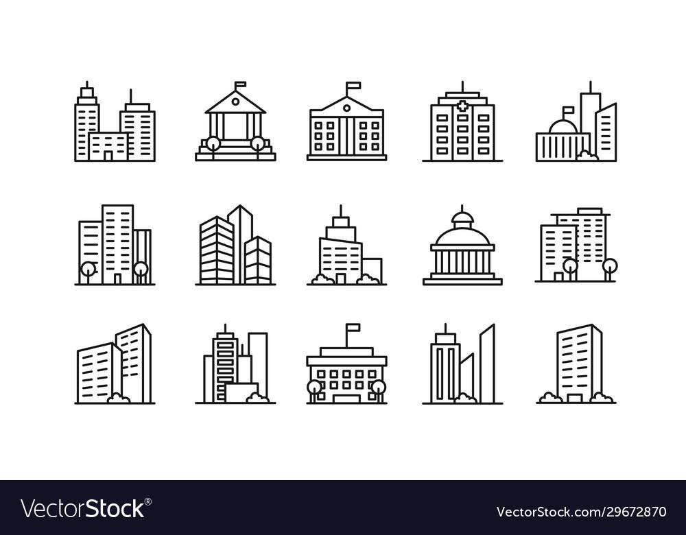 Big city buildings linear icons set urban