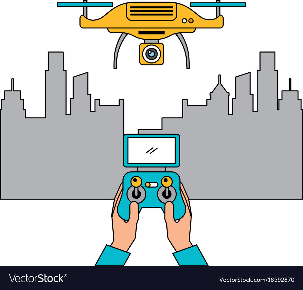 City landscape and people handle remote control Vector Image