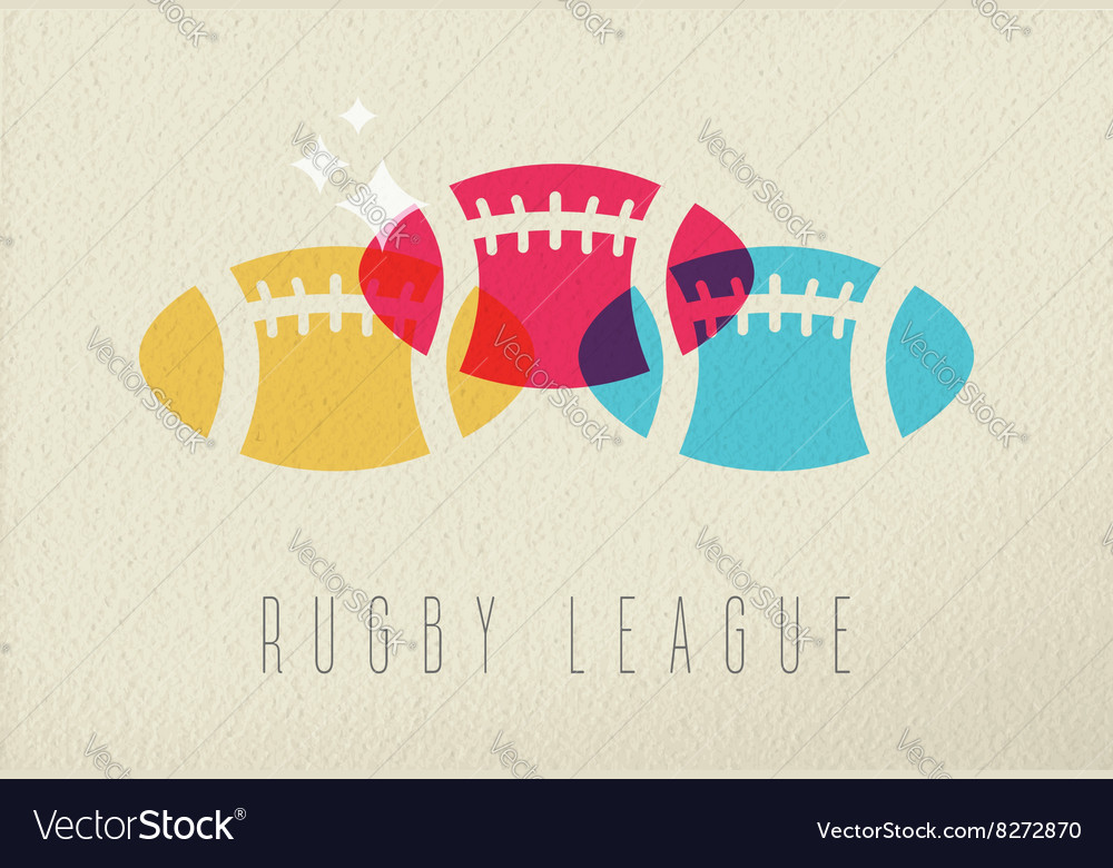 Colorful rugby ball sport concept background