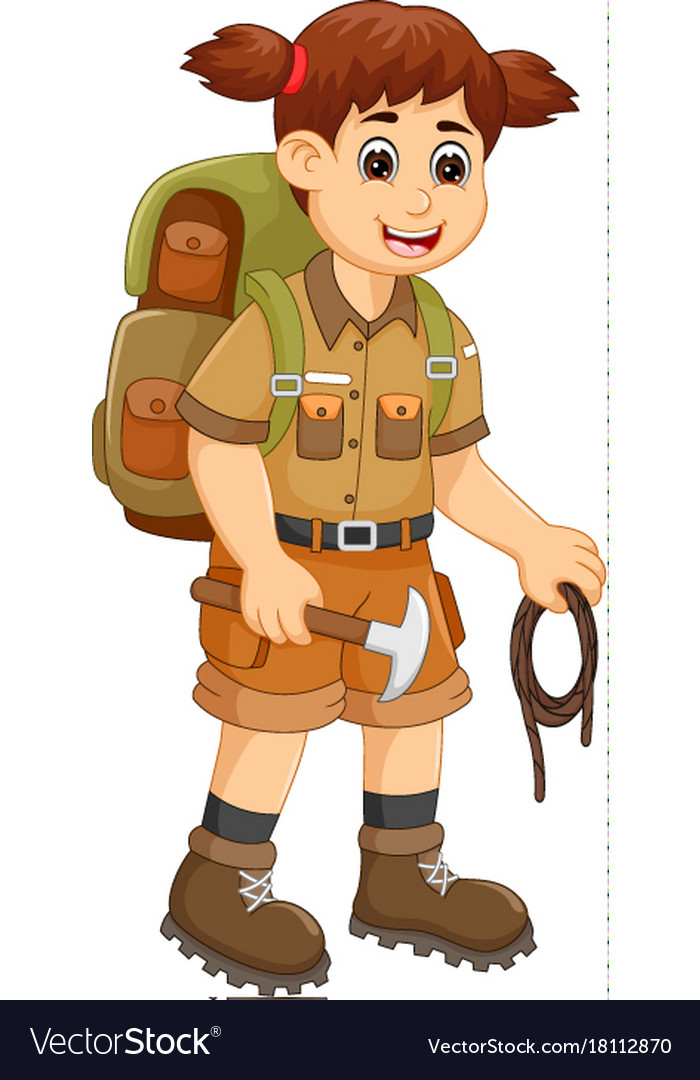 Cute backpacker cartoon standing with bring rope
