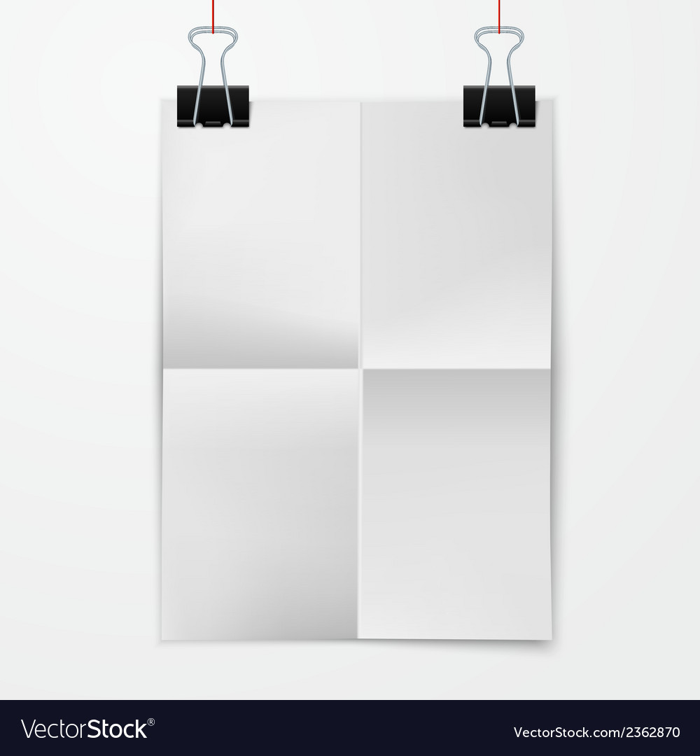 folded paper sheet with binder clip royalty free vector