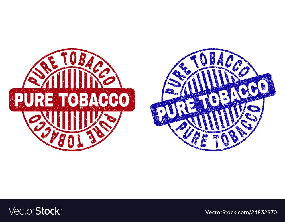 Grunge pure tobacco scratched round stamp seals