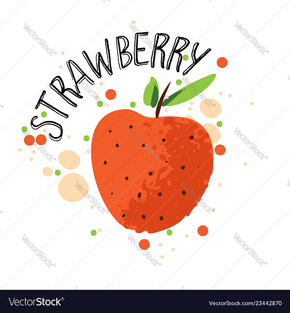 Hand draw strawberry red