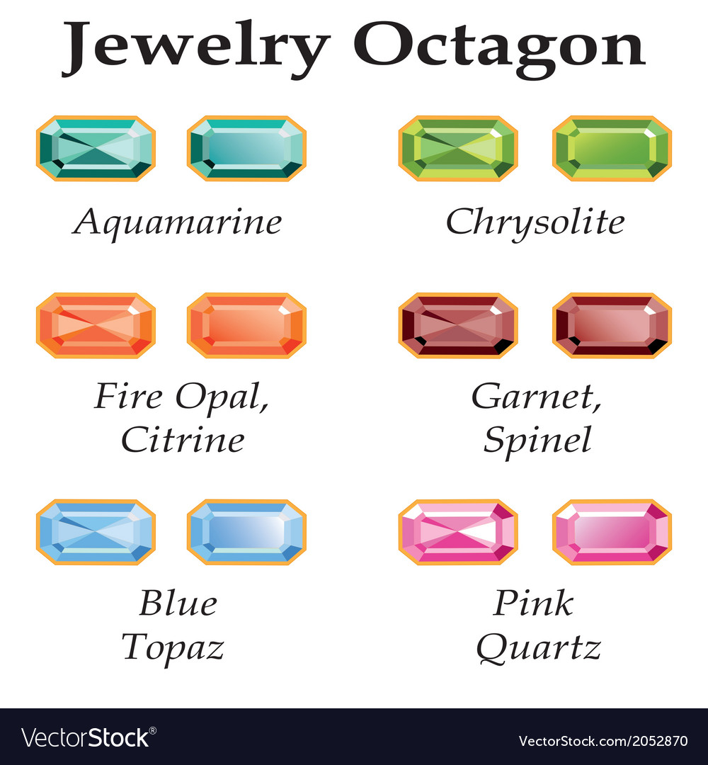 Jewelry Octagon Isolated Objects vector image