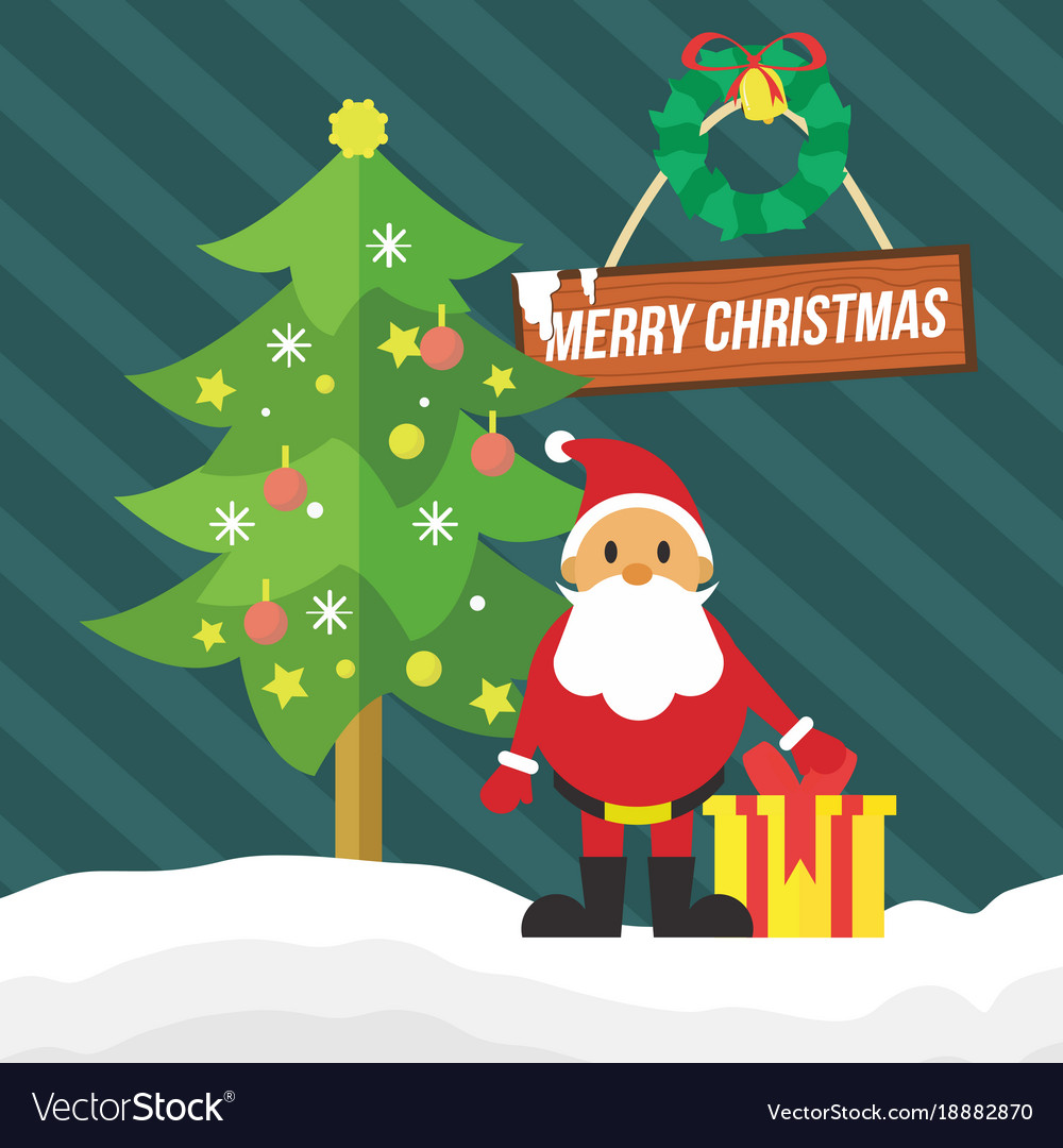Merry christmas santa gift card stripes graphic Vector Image