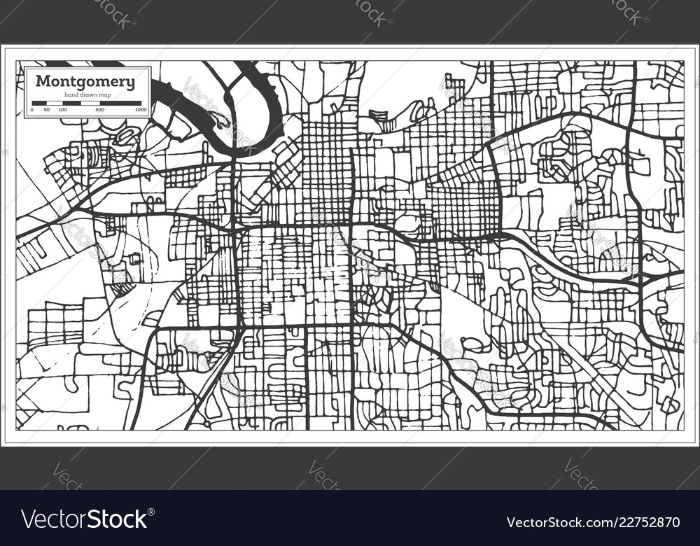 Montgomery alabama usa city map in retro style Vector Image on