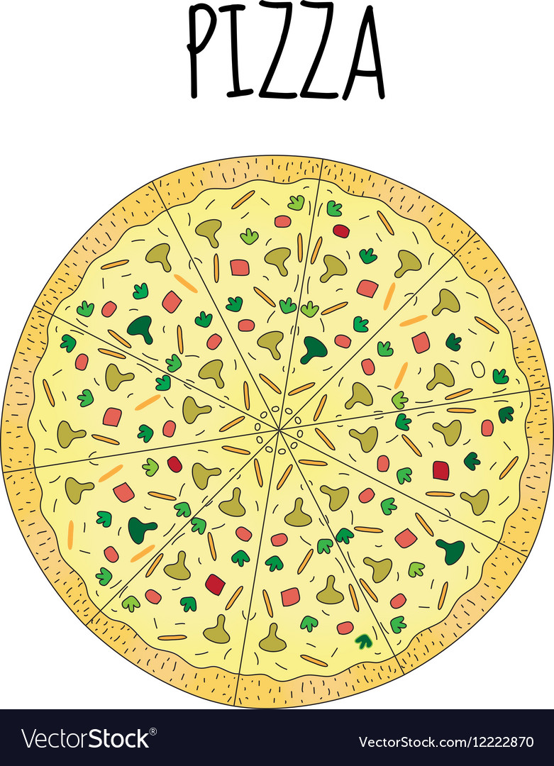 Pizza drawing Postcard pizza hand drawing