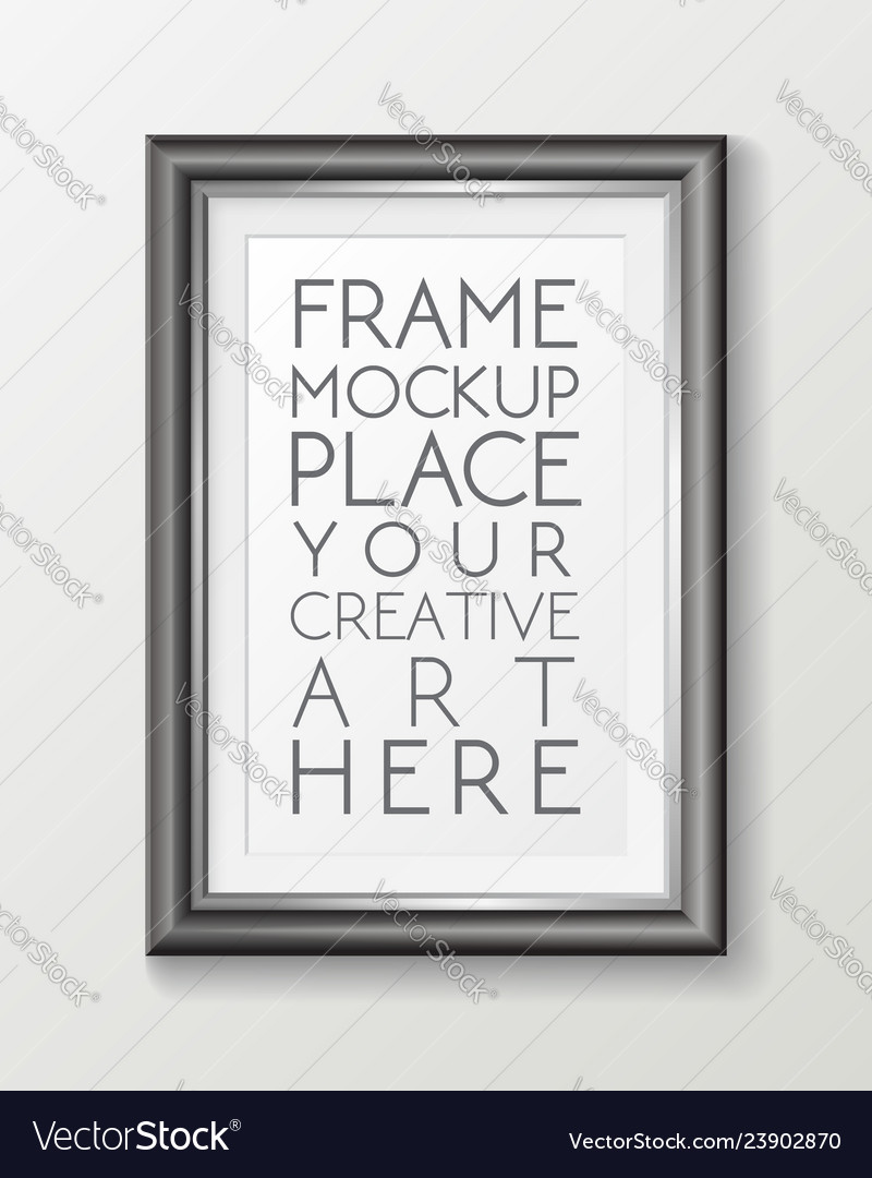 Realistic vertical gray frame template frame on