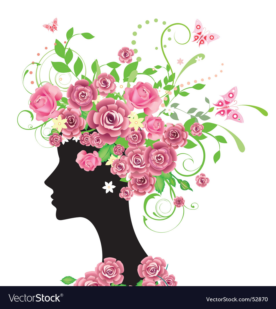 Rose woman vector image