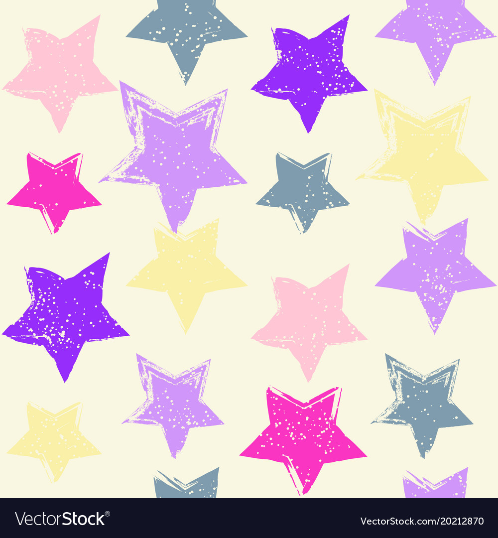 Seamless pattern with hand drawn stars