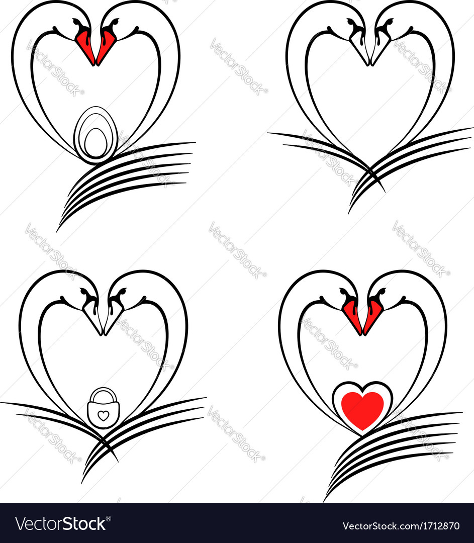 Swan With Heart Symbol Of Love And Family Vector Image