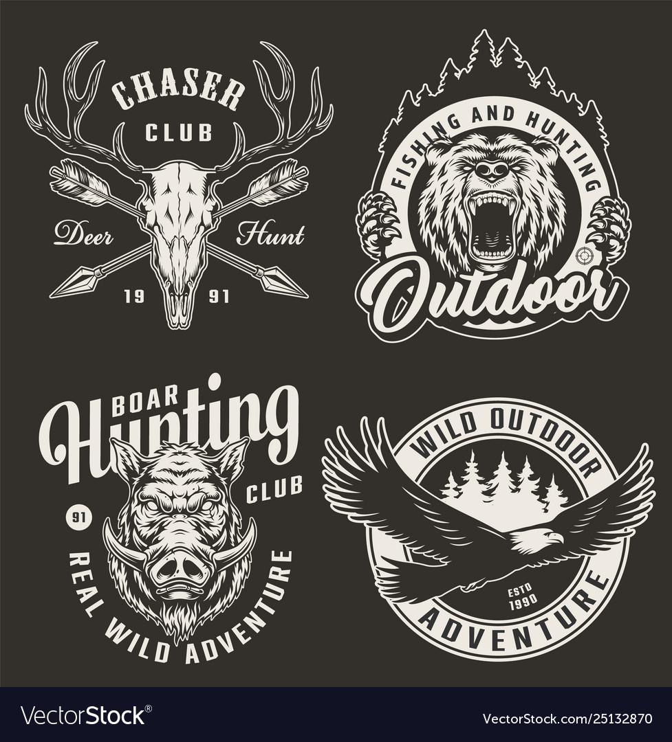 Vintage monochrome hunting club logos