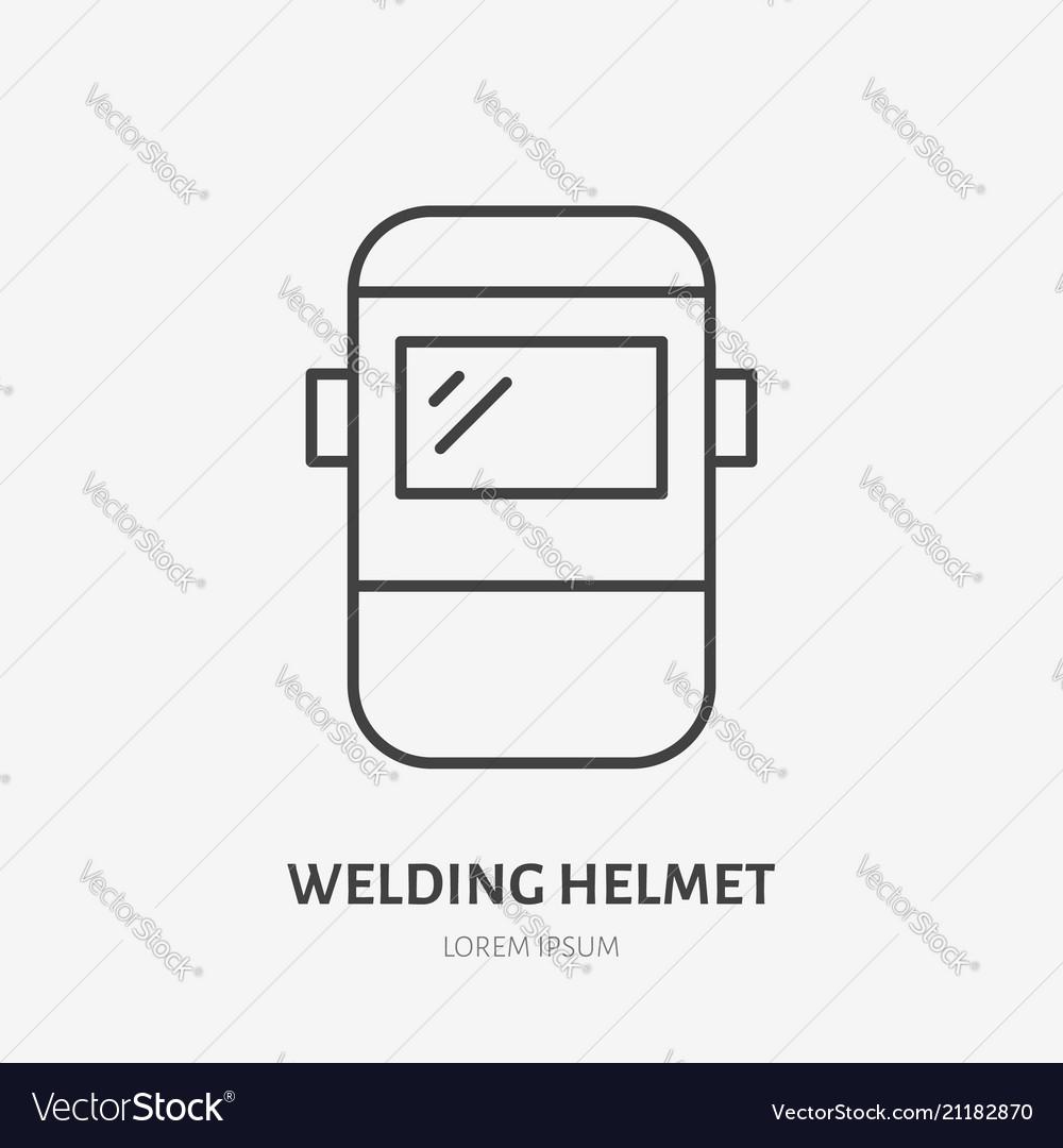 welder helmet flat line icon safety metal works Welding Helmet Outline
