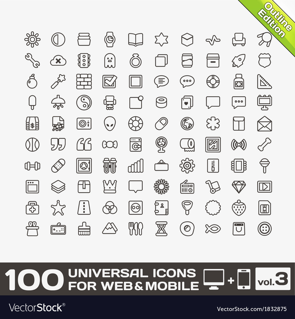 100 Universal Icons For Web and Mobile volume 3