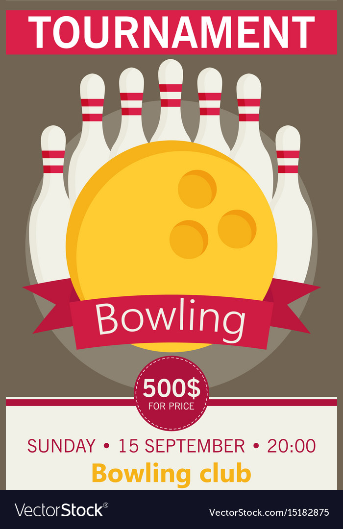 Flat Style Poster Template For Bowling Tournament