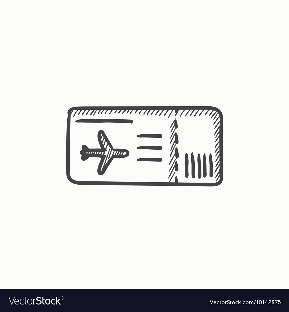 Flight Ticket Sketch Icon Vector Image