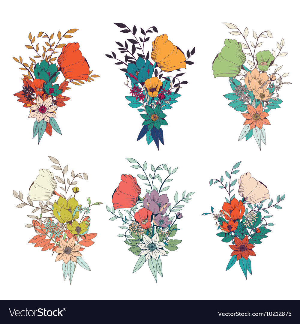 Hand drawn flower bouquets for wedding invitations