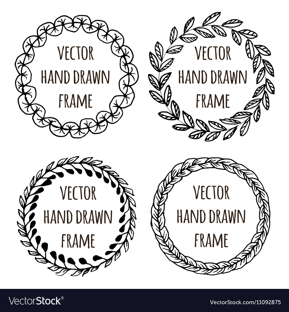 Hand drawn wreath set made in Leaves